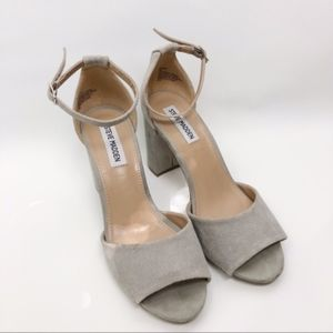 Steve Madden Mirna suede gray strap heels shoes
